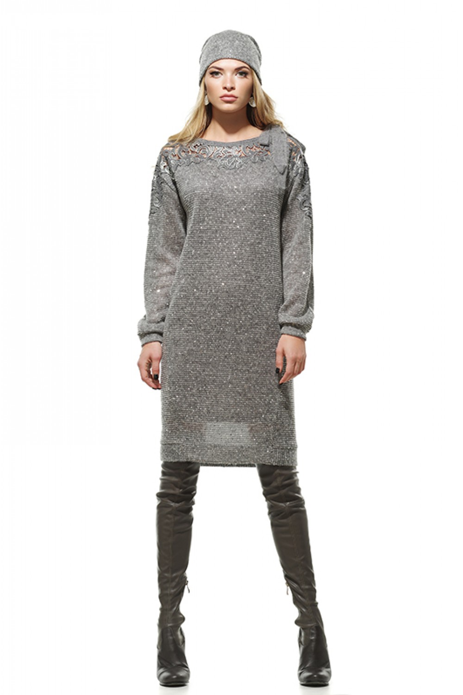 abda3e6b2ff Серое трикотажное платье с пайетками и кружевом. Купить онлайн ...