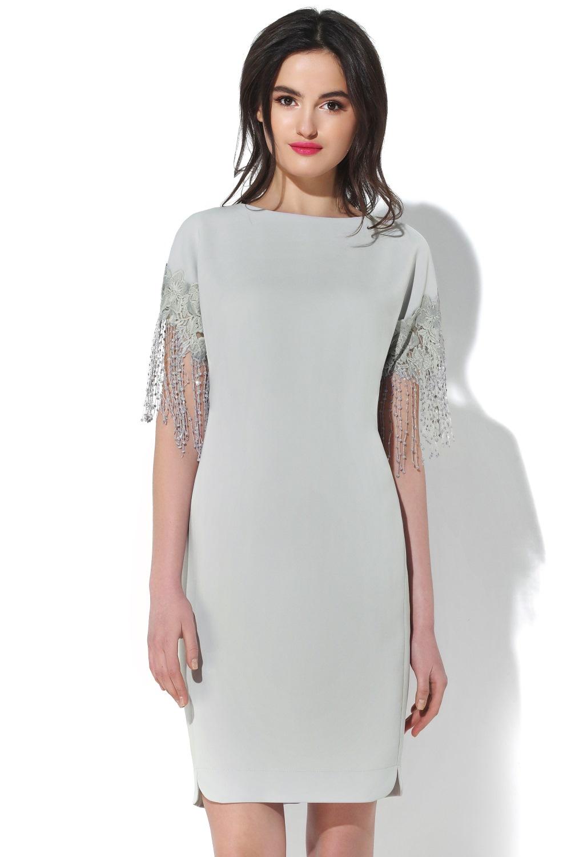 2f298d8cc90214c Нарядное серое платье с кружевным декором-бахромой. Купить в ...