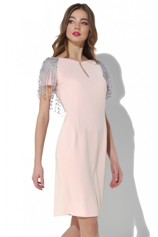 e828987a08e9c87 Нарядное розовое платье с кружевным декором по спинке. Купить не ...