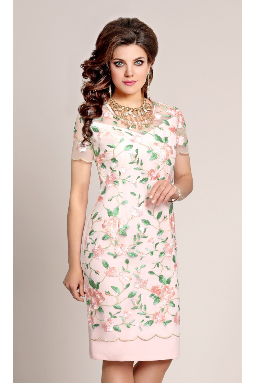 7ba8ebea6b4d4ba Нарядное женское розовое платье с цветочной вышивкой. Купить не ...