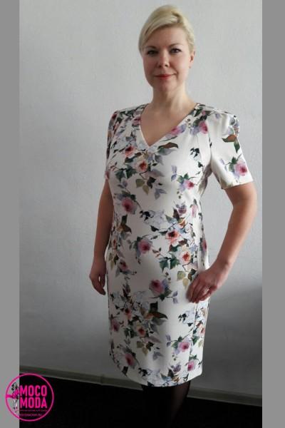 Белое платье миди с цветочным рисунком