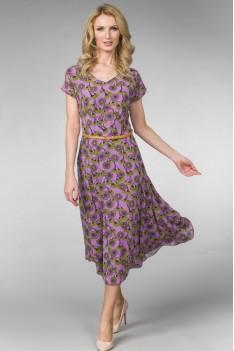 Летнее легкое сиреневое женское платье с поясом и цветочным принтом