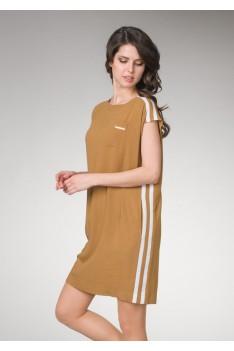 """Платье женское """"горчица""""свободного кроя с белыми полосками, потайными карманами"""