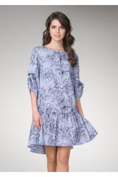 Женское светло-голубое платье с цветочным рисунком свободного кроя