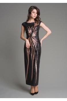 Нарядное длинное черное женское платье с декоративным шитьем