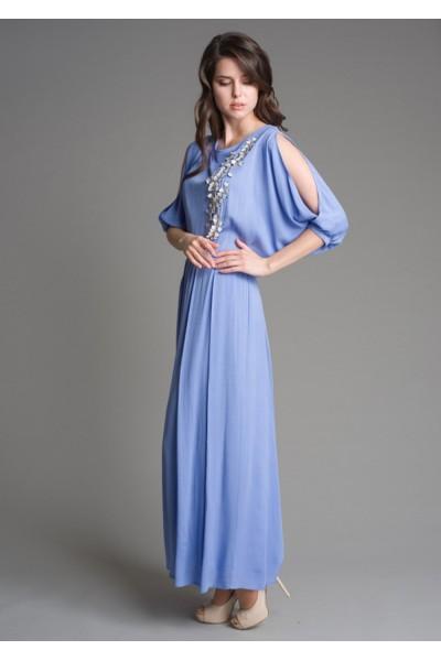 """Нарядное длинное нежно-сиреневое """"лаванда"""" женское платье с декоративным шитьем"""