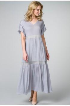 Длинное приталенное летнее платье нежно-серое
