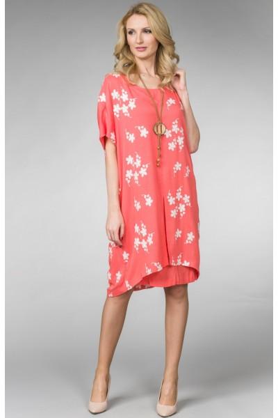 """Летнее женское платье """"коралл""""с вышивкой белыми цветами."""
