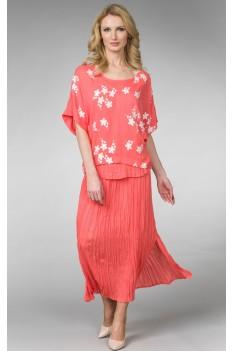 """Летний костюм-комплект """"коралл"""" юбка+блуза с вышивкой"""
