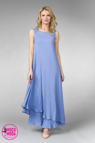 Сиреневое летнее, длинное платье