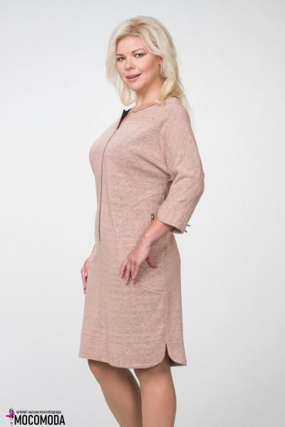 Розовое женское платье с карманами на молнии