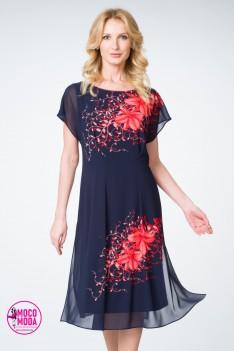 Легкое синее платье шифон с цветочным орнаментом.