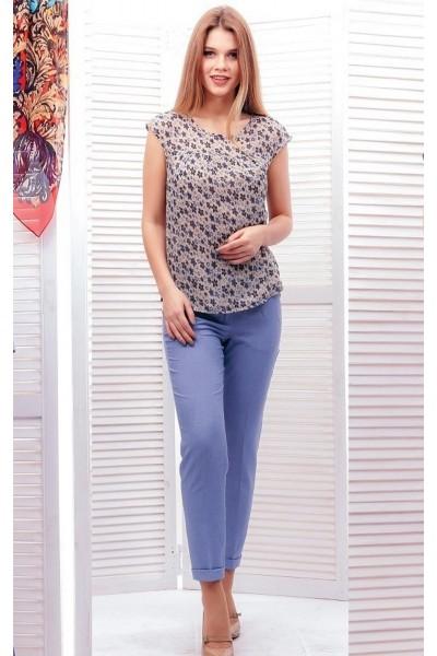 Бежевая шифоновая блуза с цветочным орнаментом