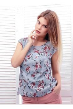 Легкая серо-голубая блуза с цветочным орнаментом
