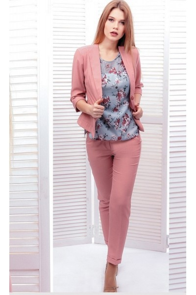 """Легкие женские брюки, розовые """"пудра"""" с карманами"""