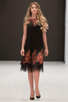 Condra 4730 Женское нарядное черное платье с цветочным орнаментом