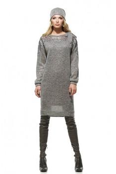 Серое трикотажное платье с пайетками и кружевом