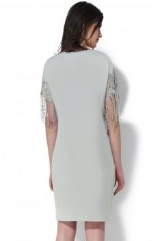 Нарядное серое платье с кружевным декором-бахромой