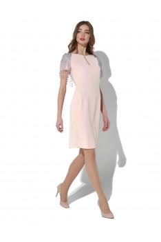 Нарядное розовое платье с кружевным декором по спинке