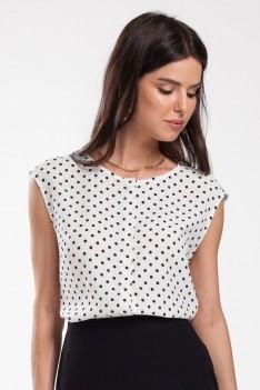 Блуза белая в мелкий черный горох
