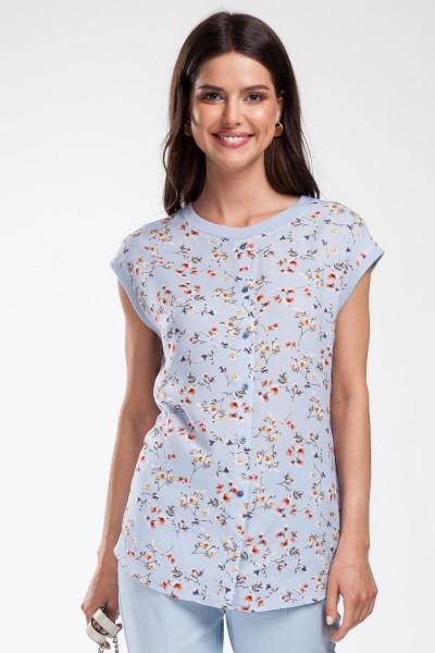 Блуза голубая в мелкий цветочный принт