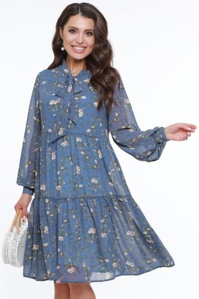 Платье с длинными рукавами с принтом цветок