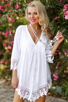Белая летняя блуза свободного кроя с в-вырезом хлопок