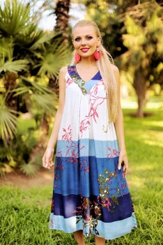 Сарафан с принтом полоски цветы свободного кроя-fri size