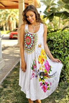 Белый легкий летний сарафан с цветочным принтом