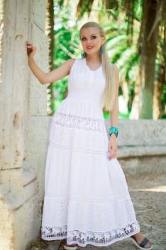 Белое длинное летнее платье хлопок кружево