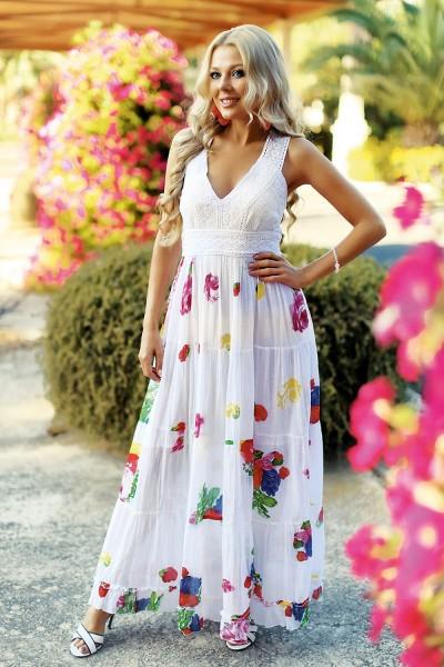 Белое длинное платье с цветным принтом вышивкой хлопок