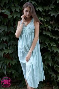 Светло-голубое летнее платье, хлопок