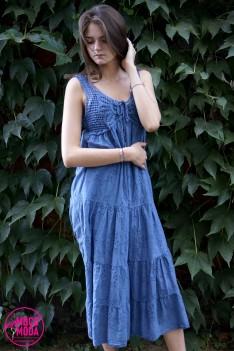 Светло-синее платье, хлопок.