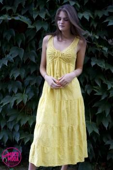 Светло-желтое летнее платье, хлопок