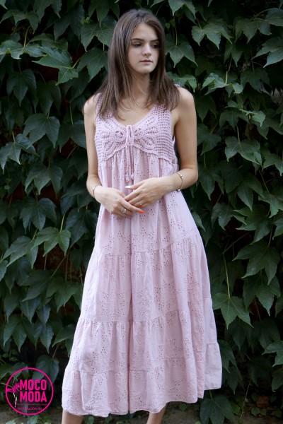 """Светло-розовое летнее платье """"пудра"""", хлопок"""