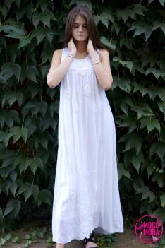 Белое длинное летнее платье, хлопок Free Size (46-48-50)