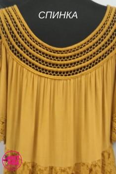 Платье летнее с вышивкой, горчичного цвета, вискоза