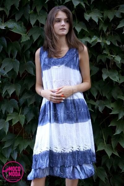 Белое летнее платье светло-голубые полосы, хлопок вышивка Free Size (48-50-52)