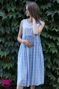 Светло-голубое летнее платье, хлопок Free Size (48-50-52) клетка.