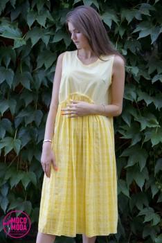 Светло-желтое летнее платье, хлопок Free Size (48-50-52) клетка