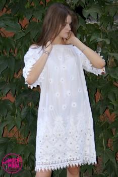 Белое летнее платье, хлопок Free Size (48-50-52) вышивка узор