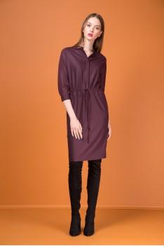 Kiara Платье женское,бордовое из плательной ткани, полуприлегающего силуэта1