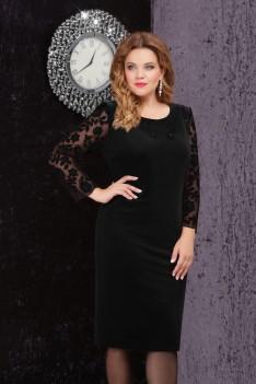 LeNata Женское велюровое черное платье с декоративной апликацией