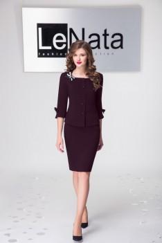 LeNata Женский деловой костюм бордо, жакет+юбка