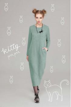LeNata Женское серо-зеленое теплое платье с дизайнерским украшением