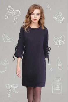 LeNata Женское синее платье с корсажной лентой в рукавах