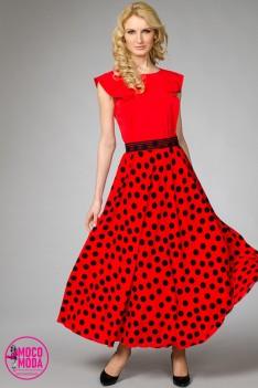 Длинное летнее красное платье горох с поясом