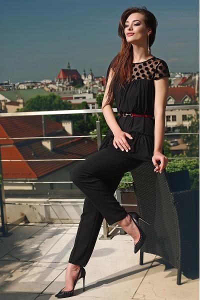 Женский черный костюм брюки туника