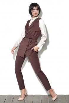 Lyushe Костюм женский: брюки, жилет, блузка тройка Какао