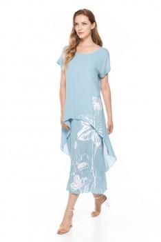 Платье летнее светло-голубое с принтом